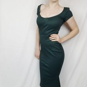 Zac Posen|Emerald Midi Cocktail Dress